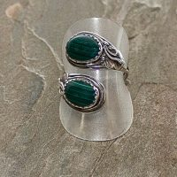 Adjustable Green Agate Sterling Silver Ring