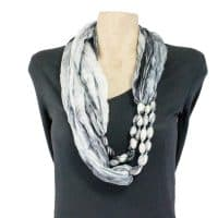 Black White Silk Infinity Scarf