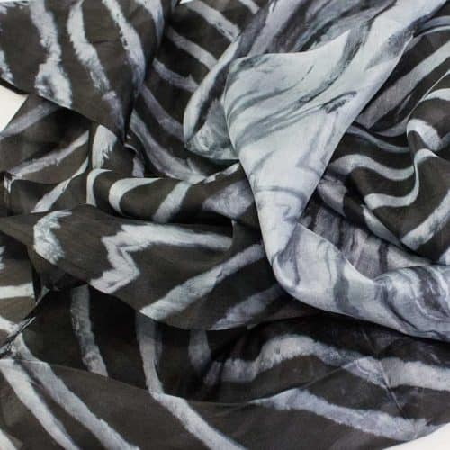 Black and Grey Silk Shawl