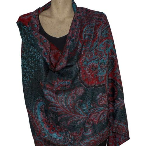 Black and Red Paisley Pashmina Shawl Stole