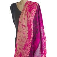 Bright Pink Banded Pashmina