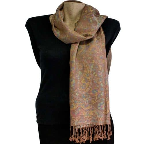 Brown Cashmere Silk Blend Paisley Pashmina