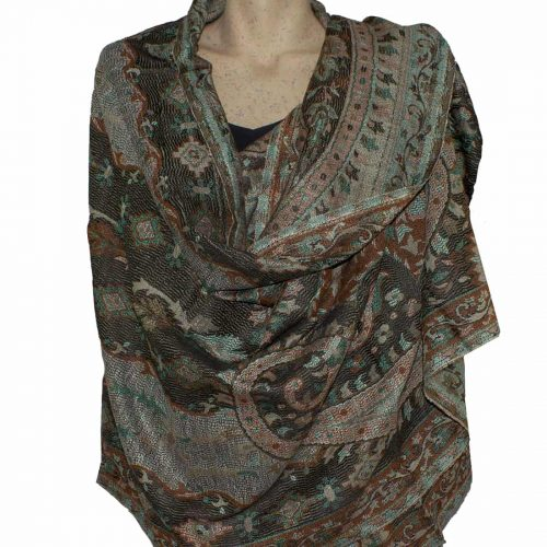 Brown and Green Paisley Pashmina Shawl Stole