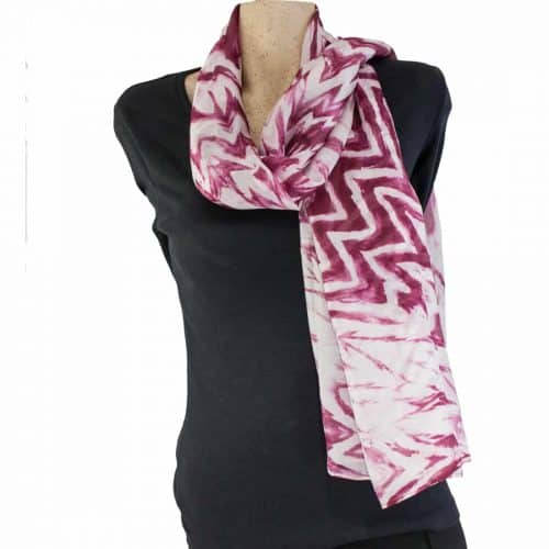 Crimson Shibori Silk Shawl