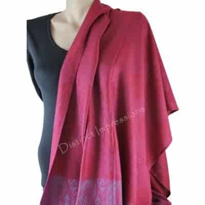 Deep Red Blue band pashmina_01