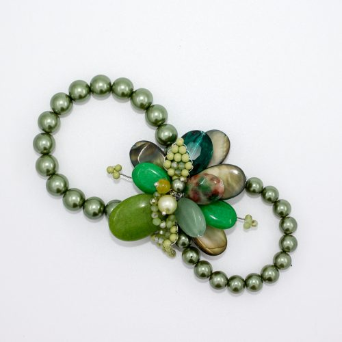 Green Beaded Scarf Ring