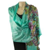 Green 100% Cashmere Floral Pashmina