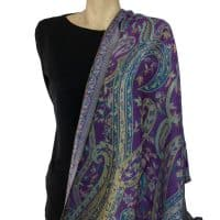 Green Purple Paisley Pashmina