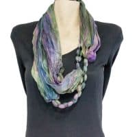 Purple and Green Silk Infinity Scarf