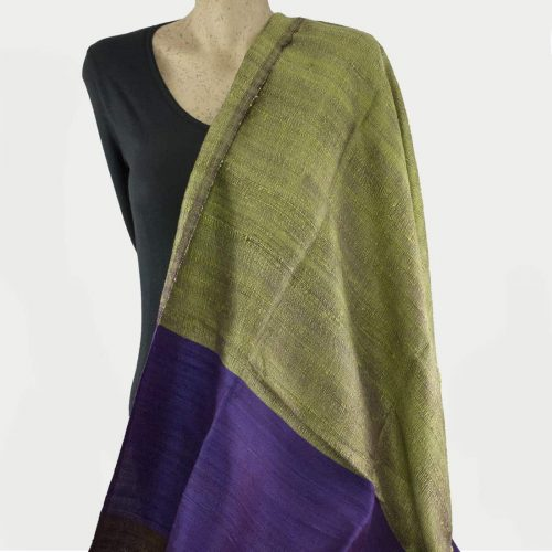Green purple silk shawl