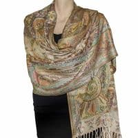 Light Brown Cream Paisley Pashmina Stole