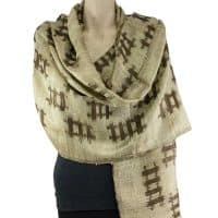 Mudmee Gold Brown Silk Shawl Scarf