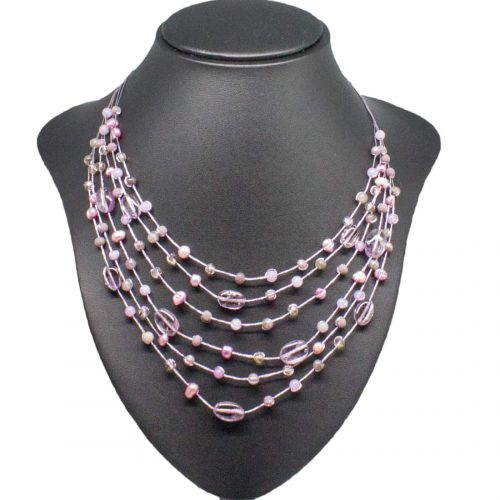 Multistrand Amethyst Pearl Necklace