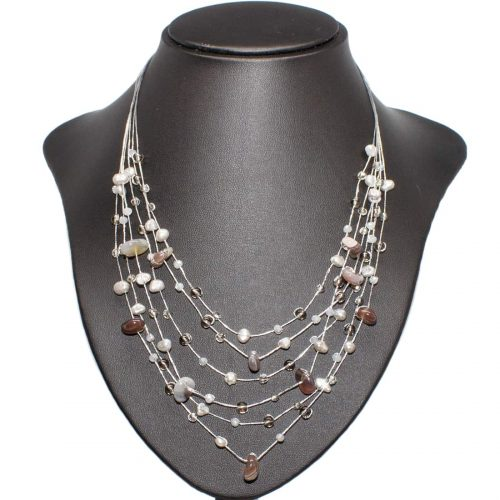 Multistrand Pearl Agate Necklace