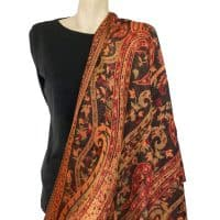 Black Orange Paisley Pashmina Wrap