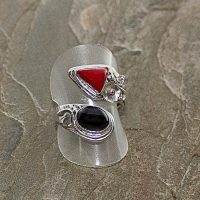 Red Coral and Agate Adjustable Sterling Silver Ring