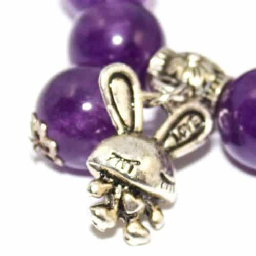 Natural Amethyst Beaded Bracelet with Rabbit Charm