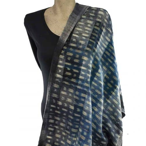Blue Black Silk Shawl Scarf