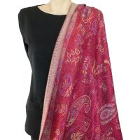 Dark Red Paisley Pashmina Wrap
