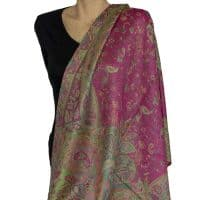 green and pink paisley pashmina