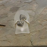 2 hearts marcasite sterling silver ring