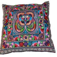 Multi Colour Hmong Embroidered Birds Cushion Cover