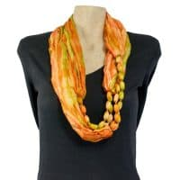 Orange Beaded Silk Infinity Scarf