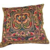 Yellow Hmong Embroidered Cushion Cover